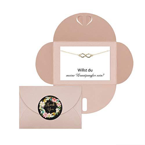 Lillyville - Brautjungfern Geschenk mit Infinity Armband Gold und Karte - Willst du Meine Brautjungfer Sein? - Hochzeit Einladung - Umschlag Rosa
