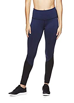 HEAD Women s High Waisted Workout Leggings - Full Length Athletic Yoga & Running Pants - Opener Medieval Blue X-Small