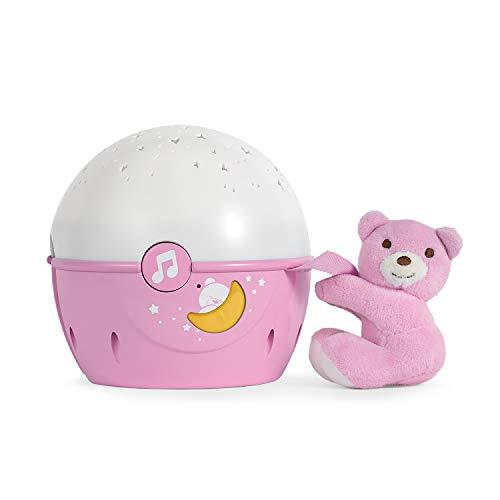 Chicco Next2Stars Nachtlicht Baby Sternenhimmel Projektor mit Plüschtier - Sternenlicht Projektor für Babybettchen, Nachtlicht mit Soundsensor, 3 Lichteffekte und Musik - 0+ Monate, Rosa