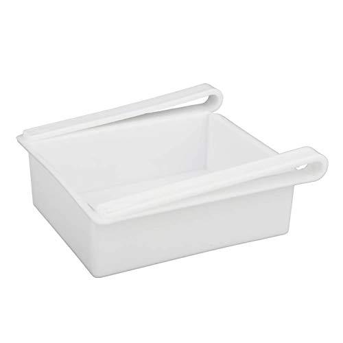 Cajón organizador de nevera, organizador de caja de almacenamiento para soporte de estante de nevera para huevos, frutas, verduras, bebidas(blanco)