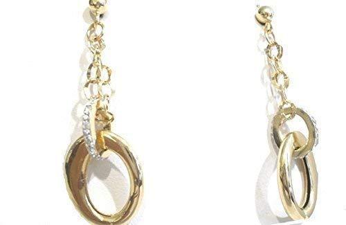 Orecchini Oro Giallo 18kt (750) Pendenti Catenella con Ovali Lucidi e Zirconi Donna Ragazza