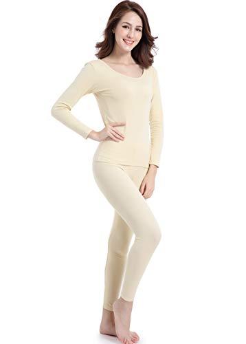 Women Long John Underwear Light Thin Base Layer Clothing Crew Neck Thermals Set Beige