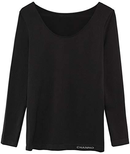 Camiseta Interior Mujer Manga Larga Licra Sin Costuras Seamless Colores Lisos (Negro, L-XL)
