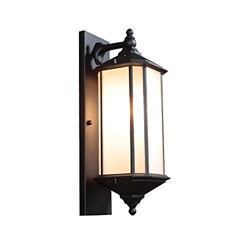 Lámpara de pared de aluminio impermeable al aire libre, lámpara de pared negra de cristal industrial retro americana, lámpara de ingeniería de la lámpara del paisaje del chalet Lámpara de pare