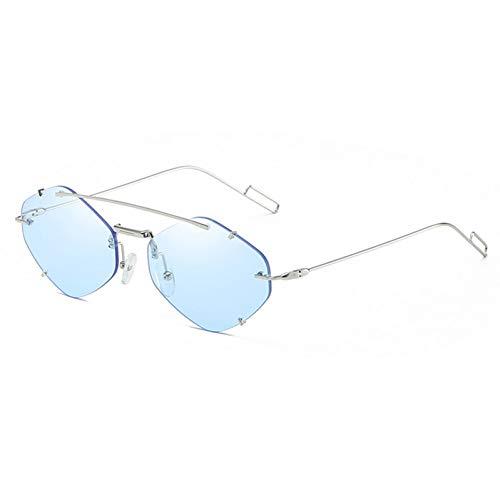 SXRAI Randlose Sonnenbrille Rhombus Damen Metall Sechseckige Sonnenbrille Für Männer Polygon Ultraleichte Brille Silber,C3