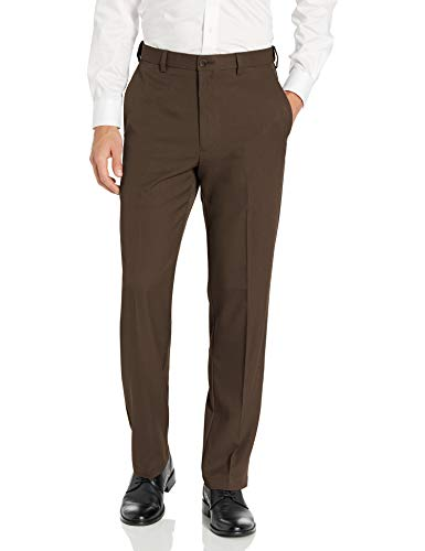 Haggar Men's Cool 18 PRO Classic Fit Flat Front Expandable Waist Pant, Brown Heather, 40Wx29L