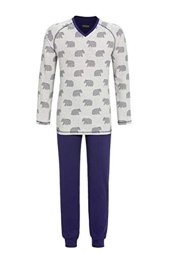 Ringella Herren Pyjama mit V-Ausschnitt grau-Melange 50 0541212, grau-Melange, 50