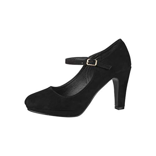 Elara Damen Pumps Riemchen High Heels Vintage Chunkyrayan New BL692 Black-40
