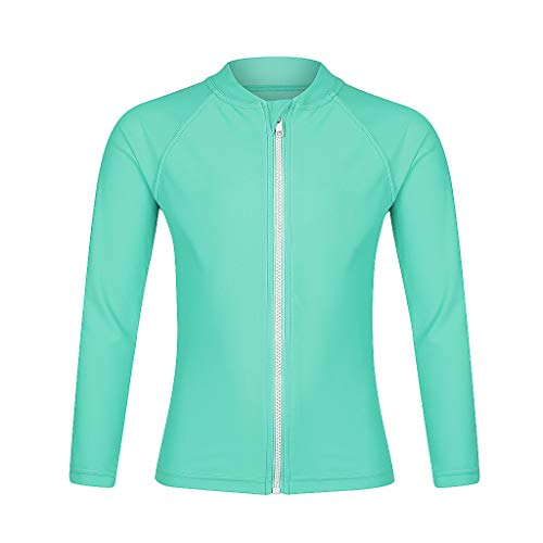 Girls Long Sleeve Rash Guard Swimwear, Zip Swim Shirt, Sun UPF 50+ (8, Aqua Rash Guard)