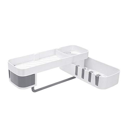 Gcroet Estante de almacenamiento montado en la pared organizador toallero barra baño cocina blanco + gris