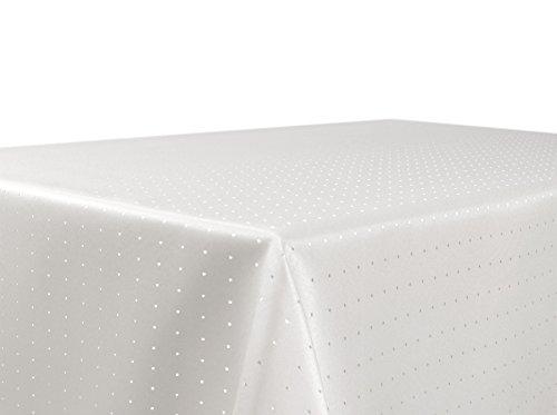 BEAUTEX Tischdecke Damast Punkte - Bügelfreies Tischtuch - Fleckabweisende, Pflegeleichte Tischwäsche - Tafeltuch, Eckig 130x220 cm, Champagner