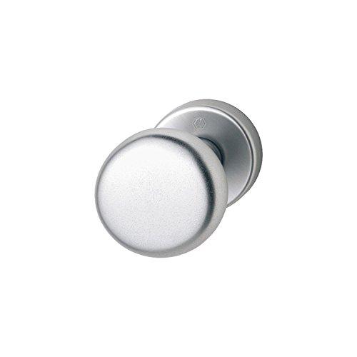 Hoppe con pomello per porta su rosetta rotonda | Forma Cilindrica | Alluminio argento anodizzato | Fix del pulsante | 1pezzi