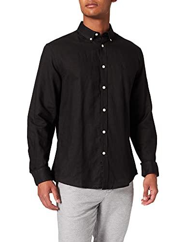 Springfield Camisa Lino, Negro, M para Hombre