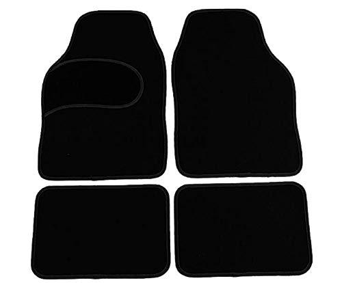Universal Automatten Set, Fußmatten 4-teiliges Set rutschfest, Stoffmatten mit schwarzer Einfassung, Autoteppich