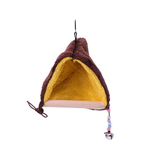 Balacoo Papegaai Schommelbaars - Vogel Winter Pluche Hut Tent Vogelkooi Hangmat Met Houten Standaard en Bellenhanger Voor Parkieten Valkparkieten Valkparkieten Papegaaien Ara's Papegaaien Dwergpapegaaien Vinken