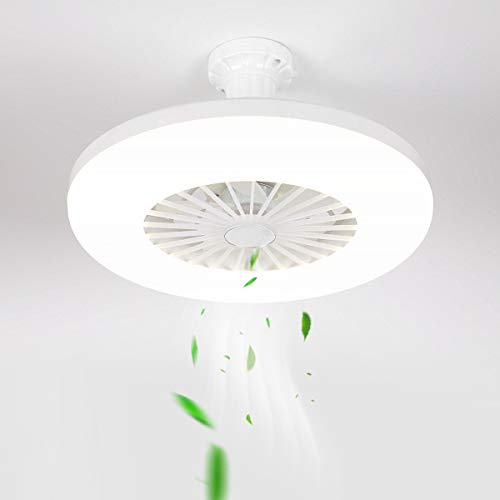 QJUZO Ventilador de Techo Pequeño Con Luz, 36W Moderna Simple LED Lámpara de Techo Con Ventilador Para Dormitorio Balcón Baño Cocina Restaurante Estudio Infantil Iluminación, E27