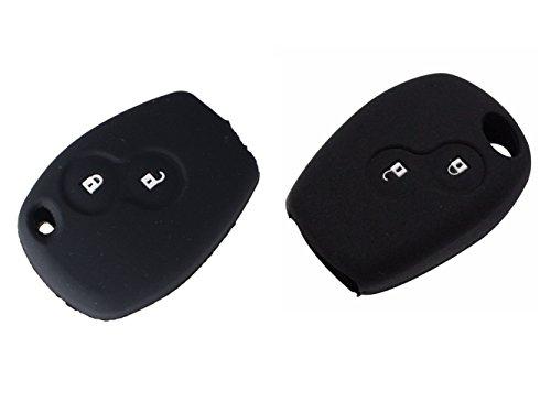 Happyit Cas de Couverture de Clé de Voiture de Silicone pour Renault Kangoo Scenic Megane Sandero Captur Twingo Modus 2 Boutons Clé Intelligente (Noir)