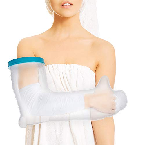 Full Arm Cast Cover for Shower, Adult Waterproof Cast Protector and Shower Bandage for Broken Surgery Arm, Wound and Burns to Keep The Hand Wrist Fingers Arm Dry -Full Arm Size (23.6 Inches)