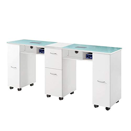 Glass double manicure table nail station desk beauty salon work station 2 fan