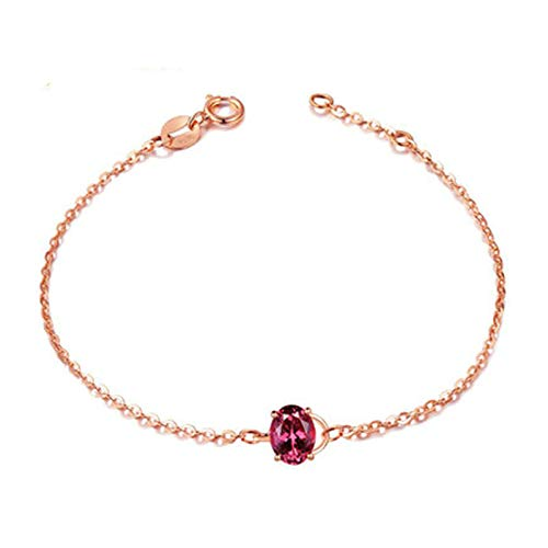 Daesar 18K Rose Gold Bracelet Women, Chain Bracelet Gold Oval Tourmaline Bracelet Rose Gold