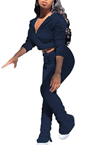 Womens Tracksuit Set Two Piece Outfits Zip Up Hoodie Sweatshirts Stacked Long Pants Sportwear Jogging Suits,Navyblue,XXL