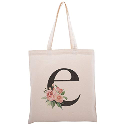 Personalized Floral Initial Cotton Canvas Tote Bag for Events Bachelorette Party Baby Shower Bridal Shower Bridesmaid Christmas Gift Bag | Daily Use | Totes for Yoga, Pilates, Gym, Workout | Initial E