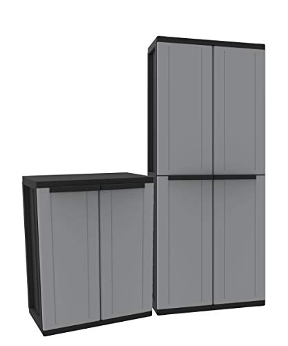 Kunststoffschrank Set: Universalschrank und Beistellschrank. Maße Universalschrank BxTxH ca. 68 x 37,5 x 163,5 cm. Maße Beistellschrank BxTxH ca. 68 x 37,5 x 85 cm