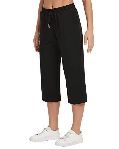 STELLE Women's Capri Lounge Pants Crop Jogger Comfy Drawstring Cotton Sweatpants with Pockets (Black, XXL)
