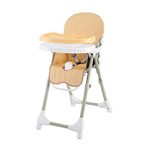 NSWDC 4 Ruedas Trona Plegable alimentación de Asiento/Doble con Bandeja extraíble y 3 Puntos de Seguridad/ergonómico/cómodo/fácil de Limpiar,Amarillo