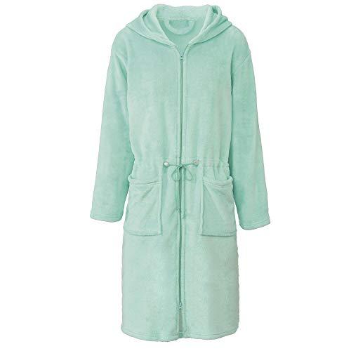 CelinaTex Vital Bademantel Damen lang XL Mint grün Mikro Flanell Morgenmantel Kapuze Saunamantel Reißverschluss