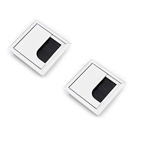 Lezed Kabeldurchführung für PC/Schreibtisch,quadratisch,Kabel-Abdeckung Draht Organizer,Schreibtischdurchführung aus Aluminium,mit Ösenbürste Kabeldurchlass für Möbel und Schreibtisch 80 x 80 mm 2x