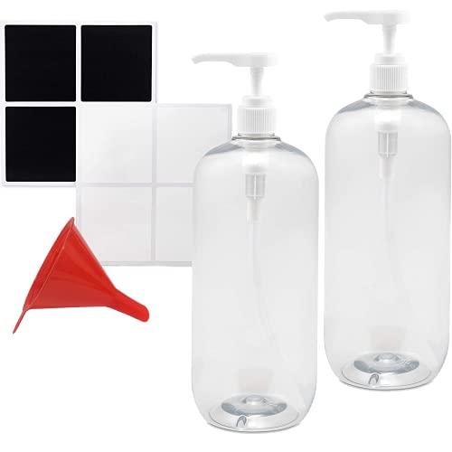 RR Ready Refills Shampoo und Spülung in Flaschen, Pumpflasche mit Spender, Silikontrichter und Etiketten - 1000 ml, nachfüllbarer Seifenspender, Pumpe - vielseitig einsetzbar - 2er Set
