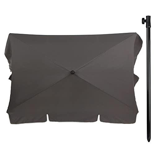 Aktive - Sombrilla para balcón, rectangular, 200 x 120 cm, color gris (85089)