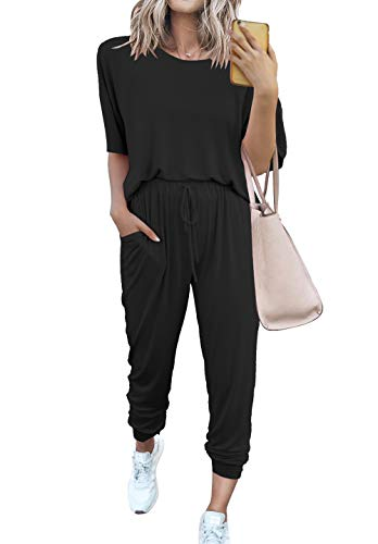 PRETTYGARDEN Women's Two Piece Outfit Short Sleeve Pullover With Drawstring Long Pants Tracksuit Jogger Set with Pockets