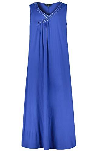 Ulla Popken Damen große Größen bis 64, Jerseykleid, glitzernde Ziersteine, V-Ausschnitt, ärmellose Form, ausgestellter Saum, dunkelblau 58/60 722127 71-58+