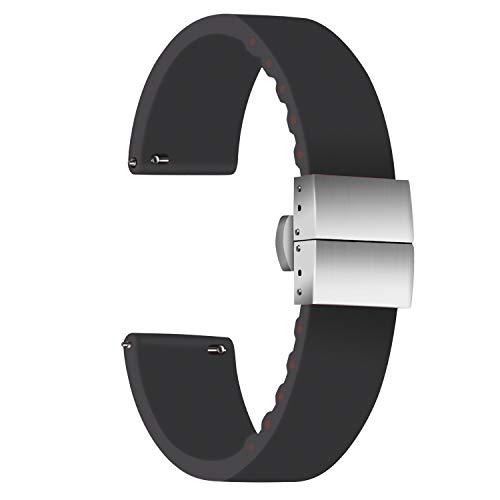 Ullchro Correa Reloj Calidad Alta Recambios Correa Relojes Caucho - 14mm, 16mm, 18mm, 20mm, 22mm, 24mm Silicona Correa Reloj con Acero Inoxidable Hebilla desplegable (14mm, Black)