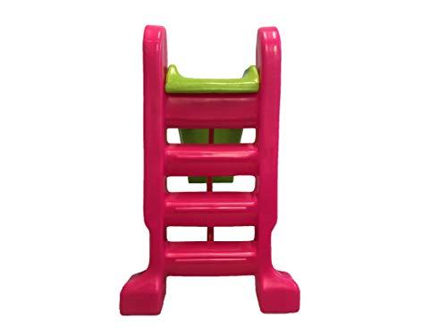 Escorregador Infantil Plástico - Médio 3 Degraus Rosa c/ Azul Claro