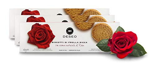Deseo 3 Packs of Rose-Flavoured Shortbread Biscuits, Italian Butter Cookies - 3 x 160g / 5.6oz