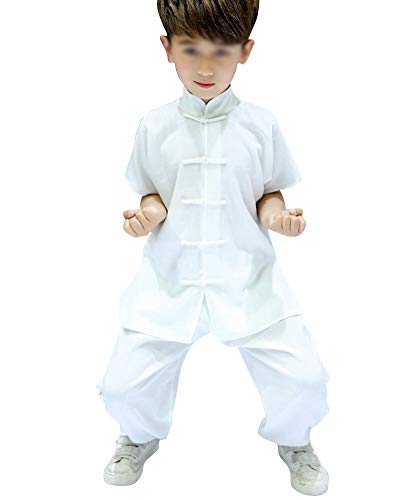 Juventud Niño Niña Uniforme De Manga Corta Tai Chi Chino Tradicionalartes Marciales Wing Chun Shaolin Kung Fu Ropa Blanco 130