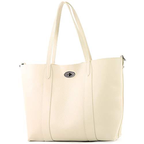 modamoda de - T187 - ital. Shopper DIN A4 Leder Damentasche mit Innentasche, Farbe:Creme