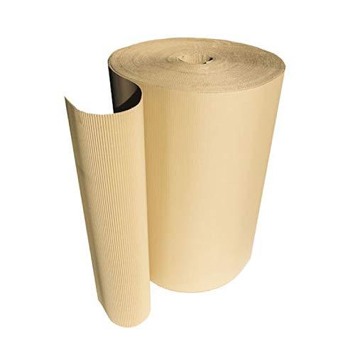 Cajeando | (1x) Rollo de Cartón Ondulado Flexible y Ecológico | De 180 gr/m² y 3 mm de Espesor | Bobinas Pintores | Altura de 90 cm y 100 metros lineales (90 m²) | 17 kg | Fabricado en España