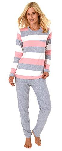 NORMANN-Wäschefabrik Toller Damen Pyjama Langarm in wunderschöner Block Streifen Optik - auch in Übergrössen 191 201 90 101, Farbe:rosa, Größe2:52/54