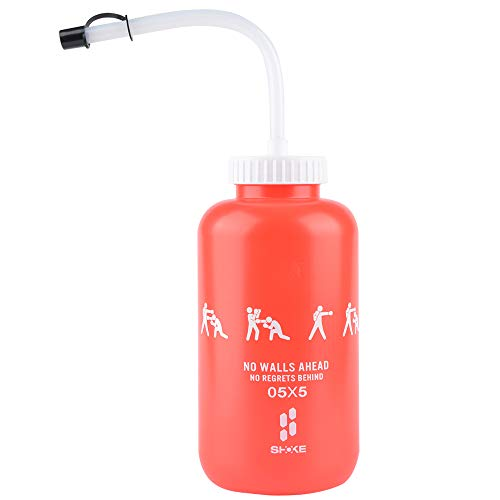 SHOKE Boxing Water Bottle with Long Straw BPA freeSqueezable Plastic Leak Proof Sports Water Bottles Perfect for Football Hockey Lacrosse Gym Cycling Large Capacity 32 Oz/1 Liter