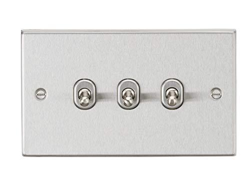 Knightsbridge 10AX 3G - Interruptor de palanca (2 vías, borde cuadrado, acabado cromado cepillado