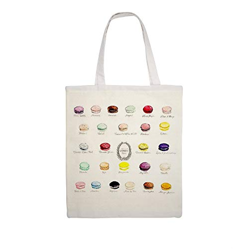 Cotton Canvas Tote Bag Laduree Macarons Flavor Menu Shoulder Grocery Shipping Bags Cloth Shopping Bag