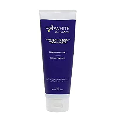 POPWHITE Natural Teeth Whitening Primer Toothpaste, Botanical Formula for Safe, Gradual Teeth Whitening at Home, Mint Flavor Teeth Whitening Toothpaste, 4 oz