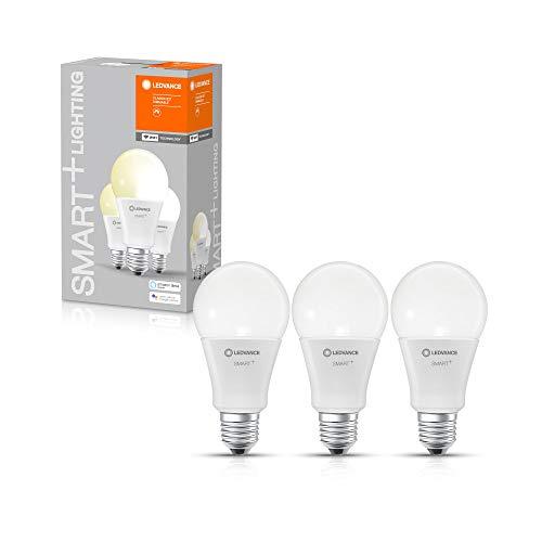 LEDVANCE Lampe LED intelligente avec technologie WiFi, douille E27, dimmable, blanc chaud (2700 K), remplace les lampes à incandescence par 100W, SMART+ WiFi Classic Dimmable, lot de 3