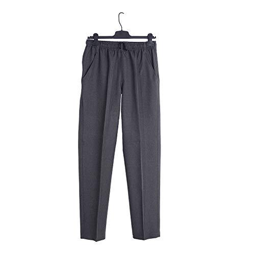 Pantalón Adaptado Hombre Color Gris/Marino - Tallas Grandes - Pantalon Vestir con Goma en la Cintura (Gris, M)