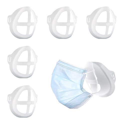 5 Stück Stützrahmen für Mund-Nasen-Schutz Masken Halterung aus hautfreundlichem Silikon Innenpolster für Mundschutz Lippenstift Schutz hilft gegen Beschlagen vergrößerter Atemraum Stützhalterung