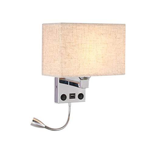 RUIXINBC Binnen RVS wandlamp, vierkant lampenkap van stof E27 wandlamp met kleine leeslamp, decoratieve verlichting geschikt voor slaapkamer hal trap